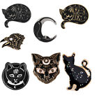 Black Cat Enamel Pin  Pentagram Moon And Star Witchy Lapel Pins Witch Cat Pins image