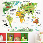 Cartoon Animals World Map Stickers Wall Sticker For Kids Room Decoration