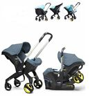 BLUE Doona Car Seat Stroller + Snap on Storage, Rain Cover & Sunshade Extension