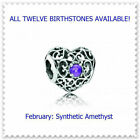 *Choose* Authentic Pandora SIGNATURE HEART Birthstone Charm +Bag Silver S925 ALE