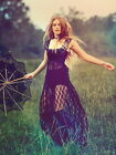 NWT Free People Romance In The Air Maxi Lace Slip Dress Indigo S