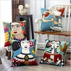 Abstract 3d Embroidered 100% Cotton Throw Cushion Cover Pillow Home Decor 18""