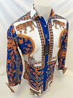 Mens PREMIERE Long Sleeve Button Down Dress Shirt BLUE GOLD TIGER ABSTRACT 338