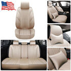 11Pcs Car Seat Cover Protector+Cushion Front & Rear Full Set PU Leather Int...