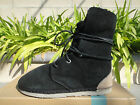 OTZ TROOP Black Shearling Boots, Leather Laces, Unisex Suede Black, Comfy