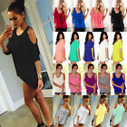 Womens Summer Casual Loose Tops Cold Shoulder T-shirt Blouse Beach Tees Shirts