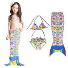 Kids Girls Children Mermaid Tail Swimmable Swimwear Bikini Set Swimsuit Costume