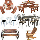 Garden Patio Furniture Set Wood Aluminium Table Chairs Bench Bistro Cafe Outdoor