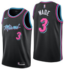 Men's #3 Dwayne Wade Miami Vice City Edition White / Black Stitched Jersey