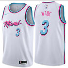 Men's #3 Dwayne Wade Miami Vice City Edition White - Black Stitched Jersey