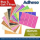 Adheso 16mm Coloured Dot Stickers Round Sticky Dots Adhesive Circles Labels