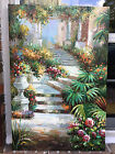 "OIL Paining Lovely Garden Scene-24""x36""-New/Stretched-Beautiful"