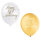 50th Golden Wedding Anniversary Party Gold Decorations Tableware Accessories