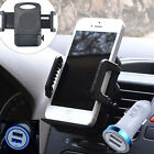 Dual USB LED Car Charger + Air Vent Mount Holder Stand Dock For iPhone Android
