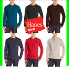 Hanes Men's Beefy-T Long-Sleeve Henley Shirt Beefy-T pure cotton 3 button S-3XL