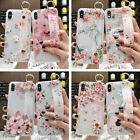 For Phone XS MAX XR XS 7 8 Plus Case Magnolia Flower Soft TPU Wrist Band Cover