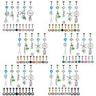 BodyJ4You 15 PC Belly Button Rings Dangle Barbells 14G CZ Navel Body Jewelry Set image