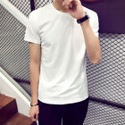 Men Summer T-Shirt Short Sleeve Basic Tee Slim Fit Casual Cotton White Tops