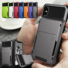 Card Case Side Pocket Rugged Hard Wallet Cover for iPhone XS Max XR 8 7 6s Plus