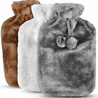 2L Hot Water Bottle with Cover Winter Warm Fur Fleece Knitted Cover Large