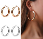 Silver Gold Large Thick Hoop Earrings Round Womens Jewellery New Restock