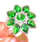 DIOPSIDE 925 Sterling Silver Overlay Ring Ethnic Jewelry Sz 9
