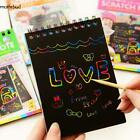 Multicolor Drawing Writing Scratch Paper Notebook With Wooden Stylus M5BD 02