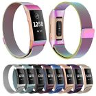 For Fitbit Charge 3 Band Metal Stainless Steel Milanese Loop Wristband Strap US image