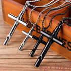Whistle Chain Cross Men Necklace Steel Silver/black Pendant Unisex's Stainless