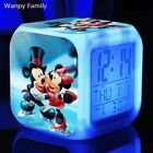 Glowing Digital Alarm Clocks Mickey Minnie Mouse LED Color Change Rooms