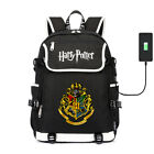 Harry Potter Hogwarts USB Port Backpack Travel Bag Teenagers Schoolbag Mochila