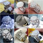 Vintage 10K Yellow Gold Filled White Sapphire Ring Women Men's Wedding Jewelry image