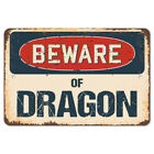Beware Of Dragon Rustic Sign Signmission Classic Rust  Wall Plaque Decoration