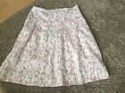 Weird Fish A-line Skirt Cotton Lined Size S 10/12UK. Off White, Pink Brown VGC
