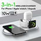 3IN1 10W QI Wireless Fast Charger Pad Dock For iPhone Apple Watch 2/3/4 Airpod