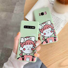New Cartoon Girl Cute Green Soft Case For Samsung Galaxy S8 S9 S10 Plus Note 8 9