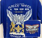 Vtg 1998 Adidas Mens T Shirt Laconia NH Rally Week Blue Double Sided Bike Size L