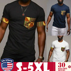 Men's African Tribal T shirt Short Sleeve Casual Dashiki Cotton Tops Plus Size image
