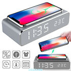 Modern Digital LED Desk Alarm Clock Thermometer Qi Wireless Charger For allPhone