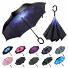 Double Layer Inverted Umbrella w/ C-Shaped Handle UV Windproof Reverse Parasols