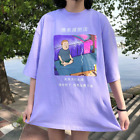 Women Girl Aesthetic Tumblr Grunge T-Shirt Short Sleeve Loose Baggy Tops Purple