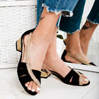 Womens Low Block Heel Slip On Sandals Ladies Peep Toe Summer Holiday Shoes Pumps