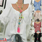 Womens Summer Floral V Neck Blouses Loose Baggy Tops Tunic T Shirts Plus Size US