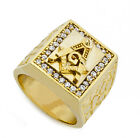 Men's RIng 18K Gold Plated Illuminati Masonic Freemason  Nugget w Ice Ring BR022