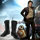 Star Wars The Last Jedi Cosplay Poe Dameron Leather Boots Shoes Custom Made $55.86 USD on eBay
