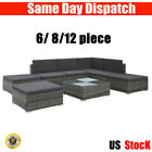 Modern Poly Rattan Sofa Set Garden Furniture With Cushions Extra Soft 6/8/12