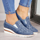 Womens Rhinestone Suede Moccasins Loafers Flats Slip On Wedges Casual Shoes Size