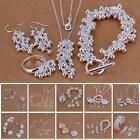 Silver Plated Chain Bracelet Earring Necklace 925 Sterling Jewelry Set New