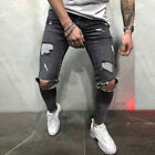 Men Solid Skinny Stretch Denim Pants Distressed Ripped Jeans Trousers Plus Size