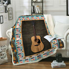 Guitar Ultra Assorted Style Reversible Sherpa Throw Blanket Comfy Soft Blanket image